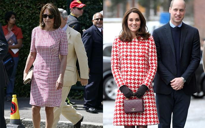 ***Matching red houndstooth ensembles*** <br><br> Carole at Wimbledon in July 2014, Kate in Sweden in January 2018.