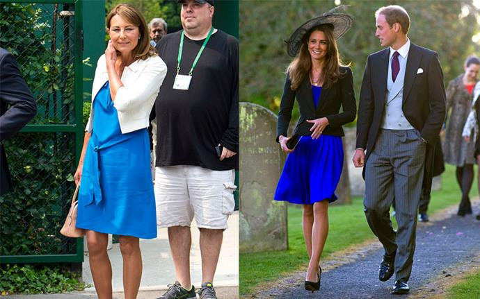 ***Matching blue mini-dresses under short blazers*** <br><br> Carole at Wimbledon in June 2013, Kate at a wedding in 2010.