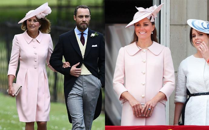 **Matching pink button-up coat dresses** <br><br> Carole at Pippa Middleton's wedding in May 2017, Kate at Trooping The Colour in 2013.