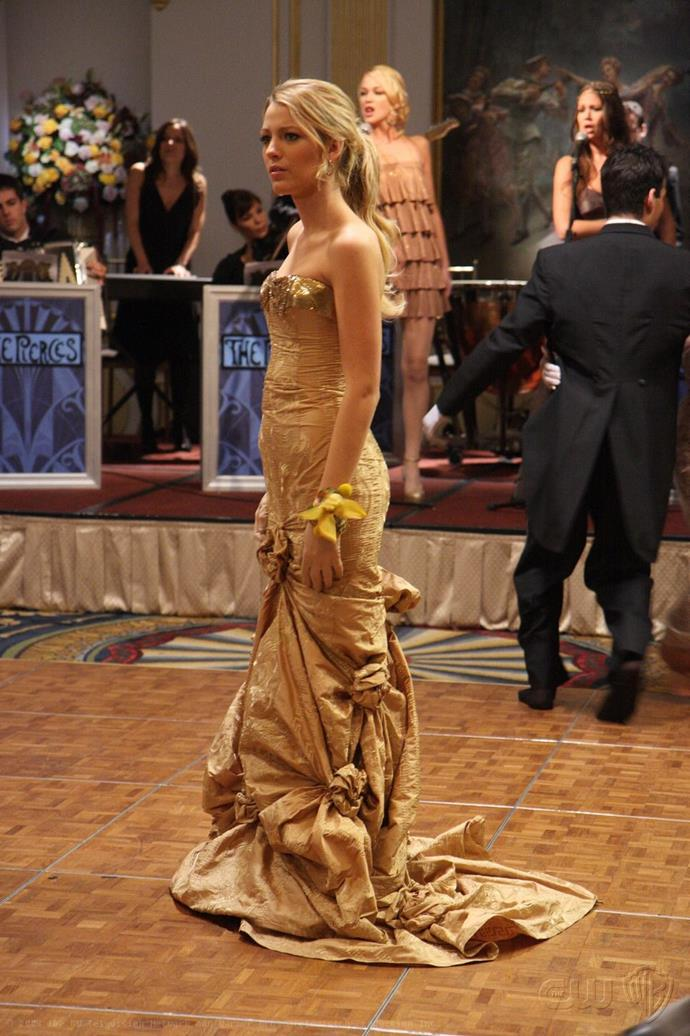 **Her Cotillion dress:** We wished our school formal look was as epic as this gold brocade gown from Pamela Dennis.