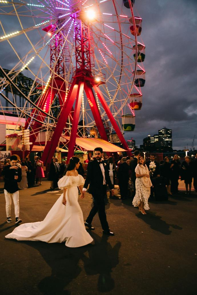**On the location:** We struggled to find the perfect location in Sydney to fit all our loved ones. The tall arched windows in Luna Park's ballroom locked us in.