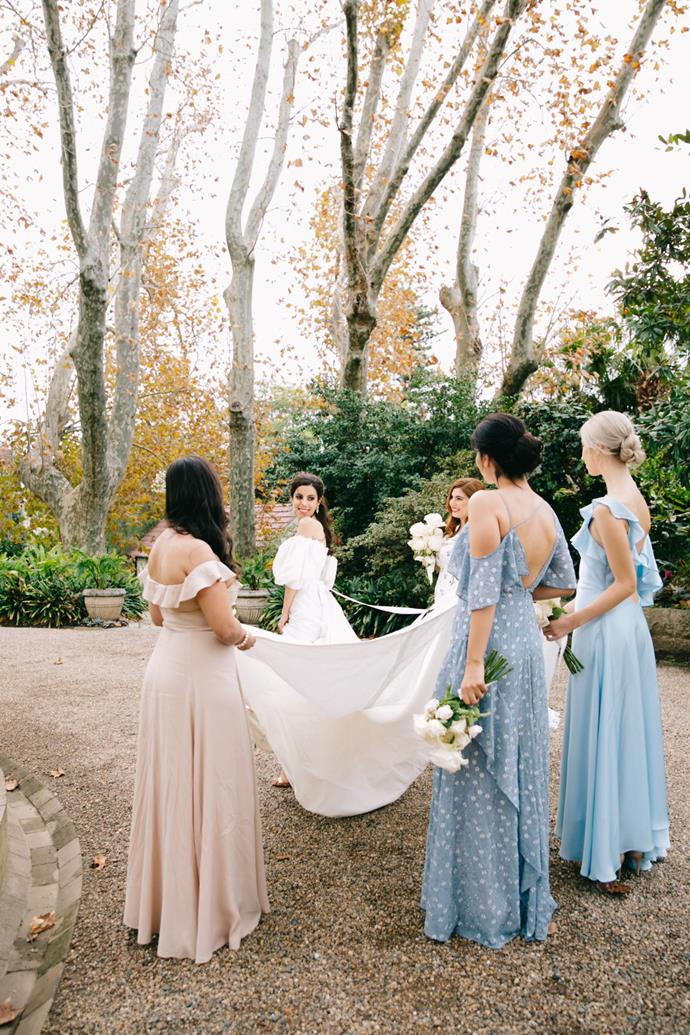 **On the bridesmaids' looks:** The girls had free range with their dress choices. My maid of honour found a beautiful Zimmerman dress that set the tone and we began adding dresses to the mood board as the months went on. The end result had a real Luisa Beccaria feel to it, with tones of baby blue and subtle floral accents. We added a smudged raspberry lip and some baby's breath to finish off the look.
