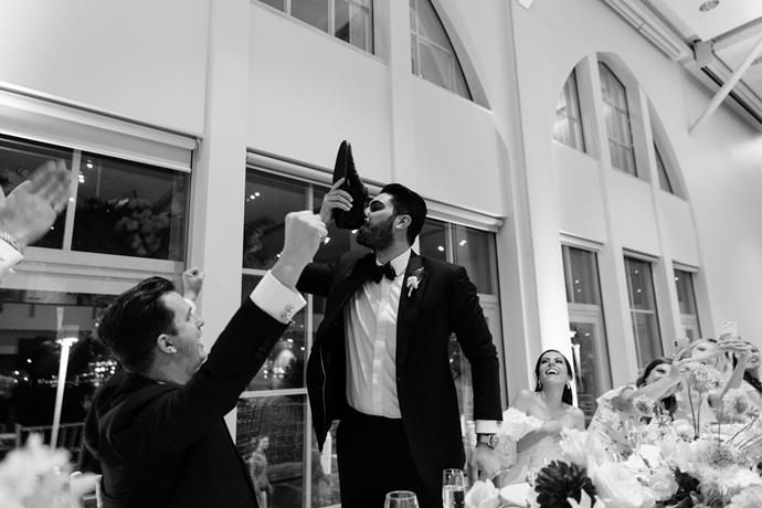 **Was there anything the groom was particularly keen on including in the wedding?** A shoey!