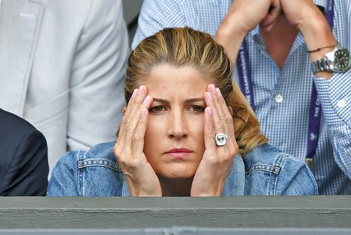 Mirka Federer watching her husband's defeat at the hands of Novak Djokovic at the 2019 Wimbledon men's final.