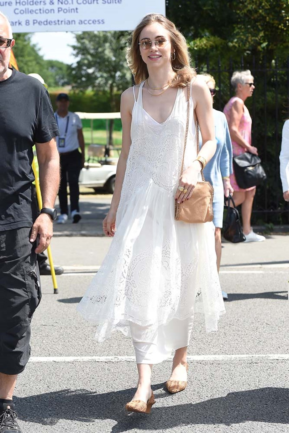 """***Suki Waterhouse***<bR><br> """"Has she layered two dresses here? Either way, with the boho jewellery and woven shoes, the effect is as if she's flung open French doors on the stale, stuffy air of Wimbledon dressing to let in a refreshing summer breeze. Thank you, Suki, for reminding us it's a game, not a wedding."""" - Tom Lazarus, copy director."""