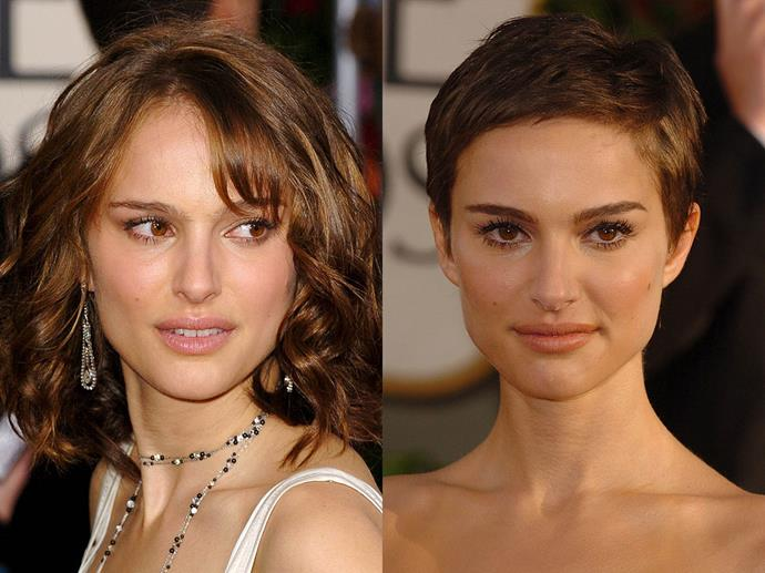 Natalie Portman in January 2005 and January 2006