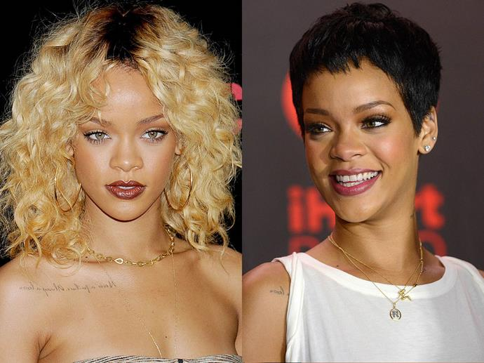 Rihanna in February 2012 and September 2012