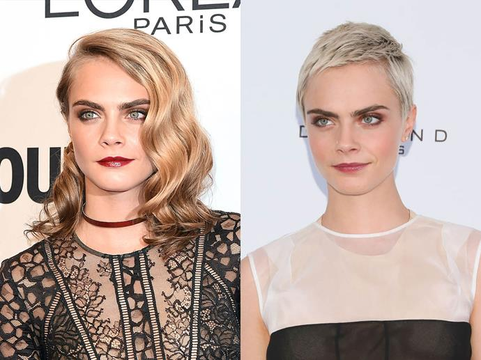 Cara Delevingne in November 2016 and August 2017