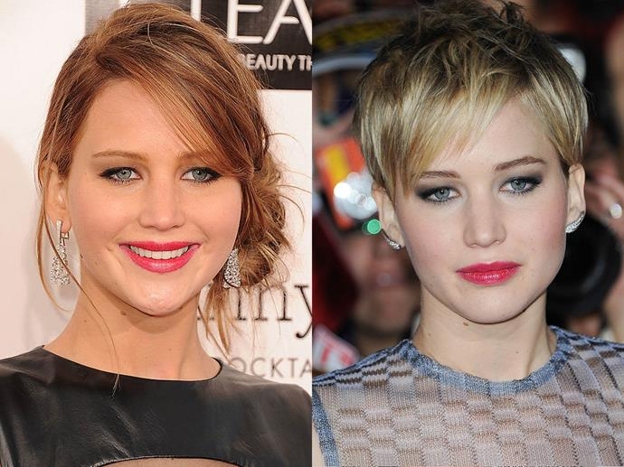 Jennifer Lawrence in January 2013 and November 2013