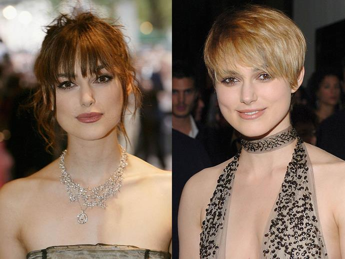 Keira Knightley in July 2004 and October 2004
