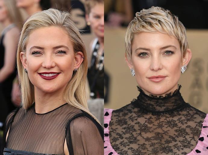 Kate Hudson in January 2017 and January 2018