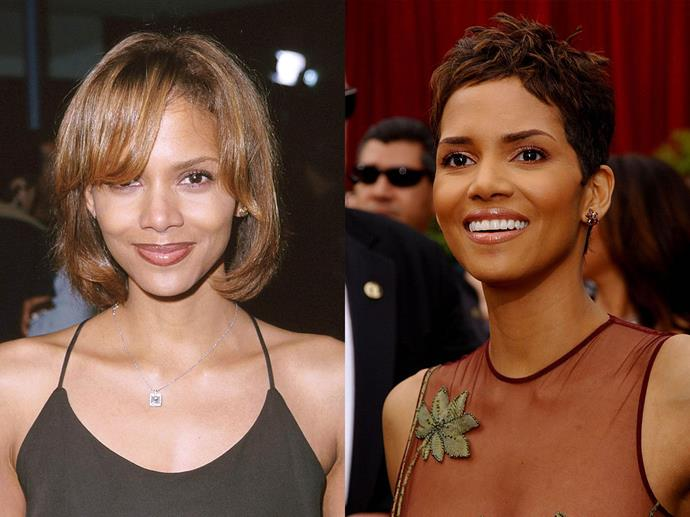 Halle Berry in February 1999 and March 2002