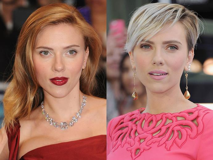 Scarlett Johansson in March 2014 and April 2015