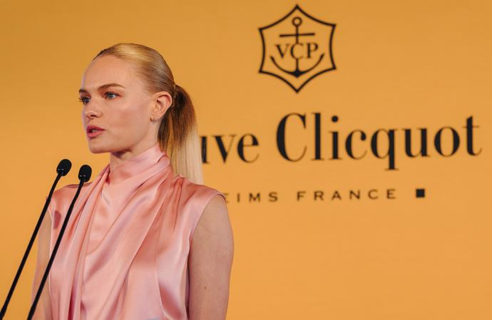 Kate Bosworth addresses guests at the Veuve Clicquot Business Woman Award