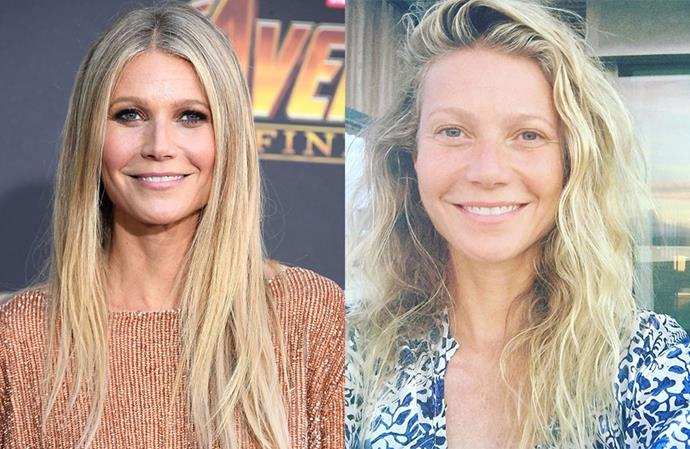 **Gwyneth Paltrow**<br></br> The natural blonde is very comfortable makeup-free, and her sunkissed off-duty beauty look is quite the departure from her sleek, defined red carpet makeup.