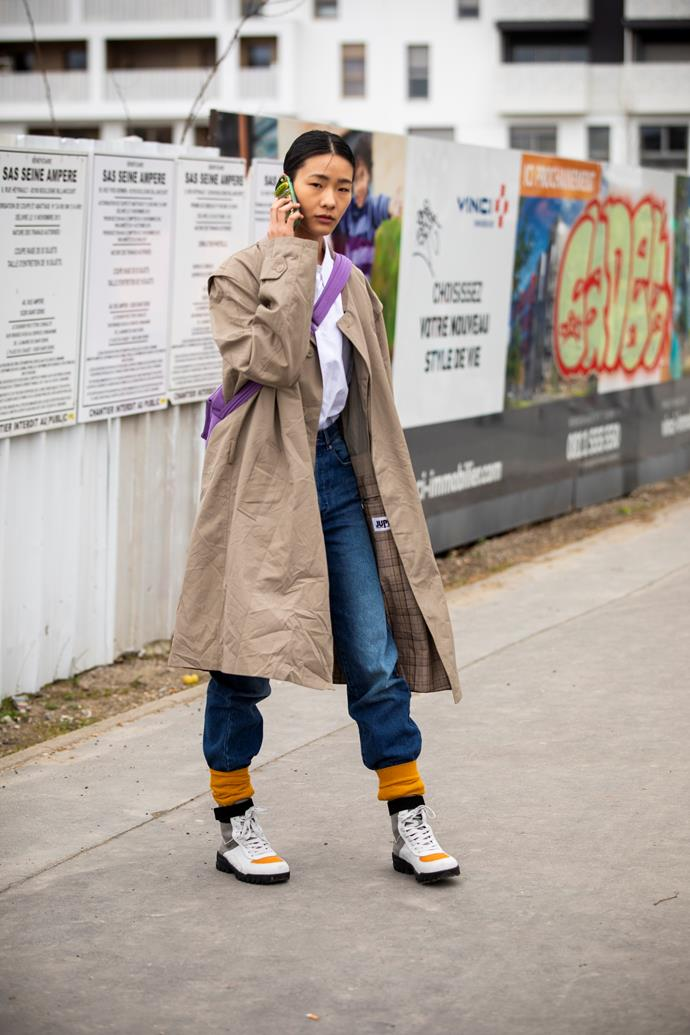 **Lace it up** <br><br> Stompy lace-up boots were *the* shoe of autumn winter '19 shows, and sneakers are following suit. A heavy-soled, lace-up sneaker looks great with denim (extra points for statement socks).