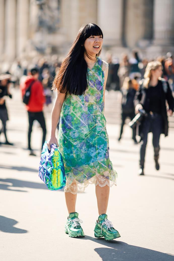 **Matchy-matchy** <br><br> Susie Lau converted us to a 'match and match' approach at the couture shows this year, when she paired her Maison Margiela dress with same-print chunky sneakers. We recommend taking her styling cues, stat.