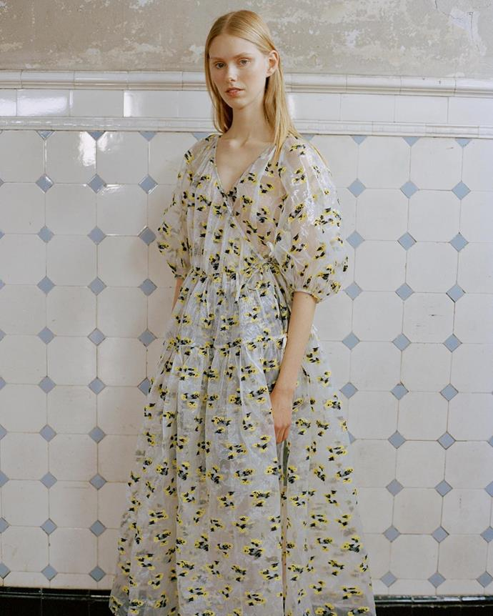 "**[Cecilie Bahnsen](https://ceciliebahnsen.com/|target=""_blank"")**<br><br>  ""Voluminous shapes, and sweet, floral prints are a big trend—Cecilie Bahnsen nails it in both categories,"" said Wong."