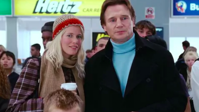 **Claudia Schiffer in *Love Actually* (2003)** <br><br> German supermodel Schiffer played a love interest for Liam Neeson's widower character in 2003's *Love Actually*—which has since become one of the best-loved Christmas films of all time. <br><br> *Image: IMDb*