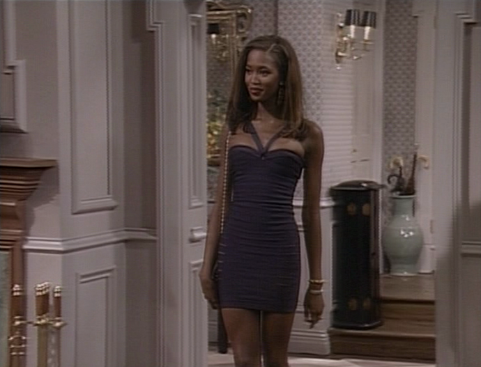 "**Naomi Campbell in *The Fresh Prince of Bel-Air*** <br><br> While Tyra Banks had a longer arc on *Fresh Prince*, fellow supermodel Campbell appeared for a single episode in the show's first season—wearing a body-con [Azzedine Alaïa](https://www.harpersbazaar.com.au/fashion/azzedine-alaia-passes-away-15032|target=""_blank"") dress, no less. <br><br> *Image: IMDb*"