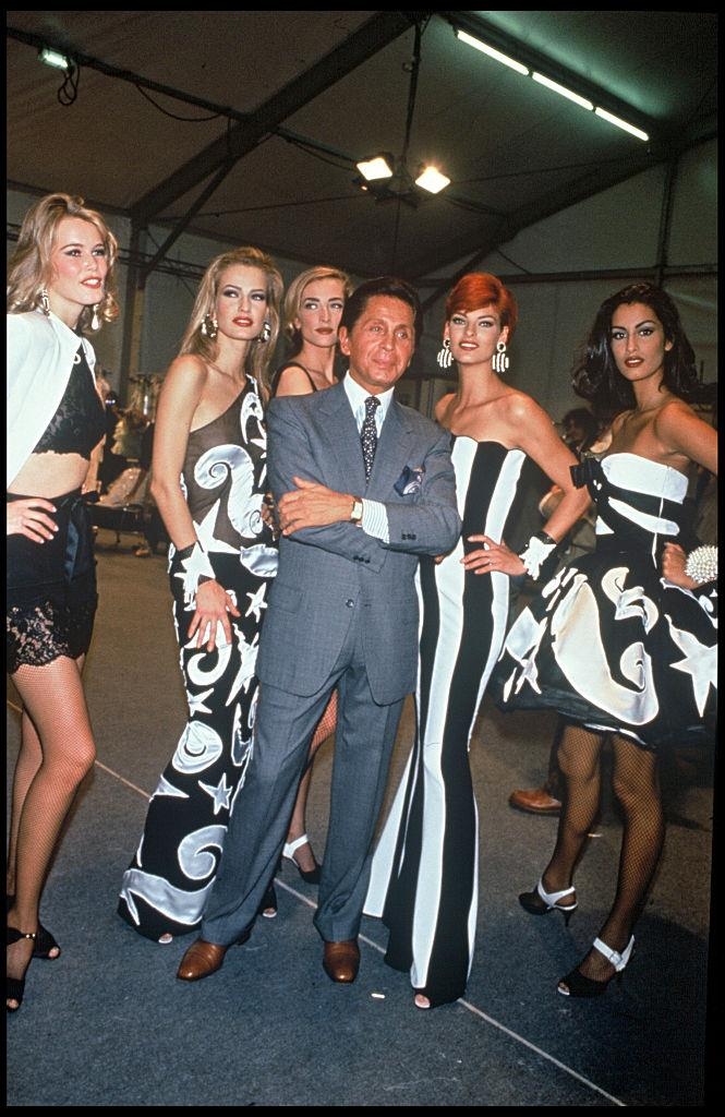 Claudia Schiffer, Karen Mulder and Linda Evangelista with Valentino at his 1992 show in Paris.