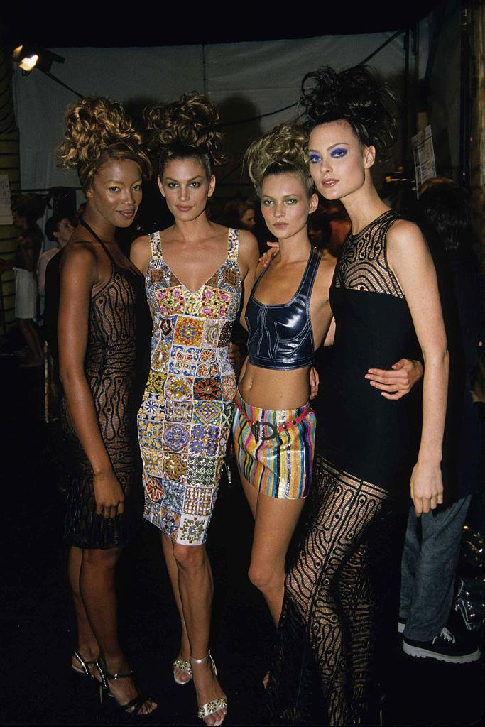 Naomi Campbell, Cindy Crawford, Kate Moss and Shalom Harlow at the Todd Oldham show in 1995.