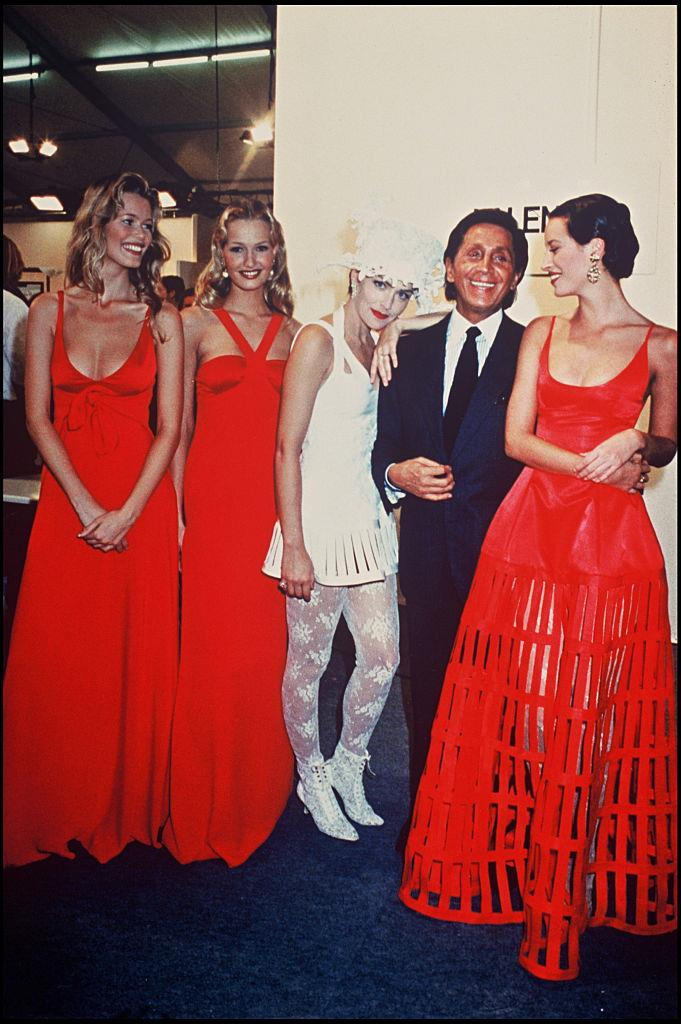 From left: Claudia Schiffer, Karen Mulder, Sharon Stone, Valentino Garavani and Christy Turlington at Valentino in 1994.