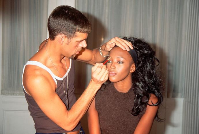 Makeup artist Kevyn Aucoin with Naomi Campbell in 1996.