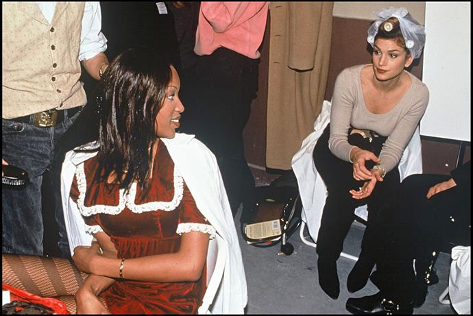 Naomi Campbell and Cindy Crawford at Chanel in 1993.
