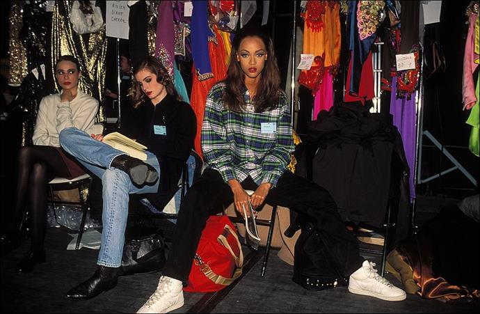Tyra Banks at Yves Saint Laurent in 1992.