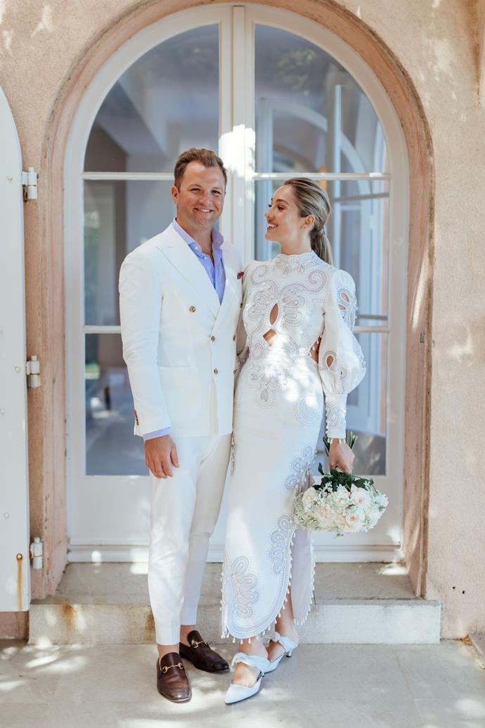 "Yasmin in Zimmermann. See more [here](https://www.harpersbazaar.com.au/bazaar-bride/white-zimmermann-wedding-dress-18915|target=""_blank"")."
