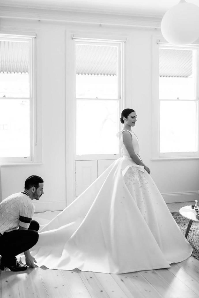 "Maria Teresa in J'Aton Couture. See more [here](https://www.harpersbazaar.com.au/bazaar-bride/national-gallery-victoria-wedding-18265|target=""_blank"")."