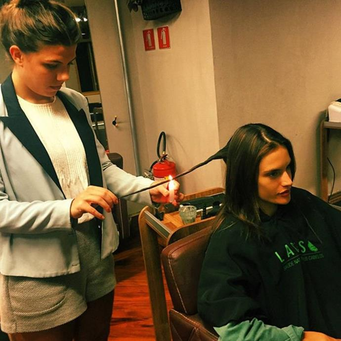 "***Alessandra Ambrosio's burning hair treatment***<br><br>  Eschewing the standard trim that most of us seek out when our ends are going awry, former Victoria's Secret Angel Alessandra Ambrosio opts for a Brazilian treatment called Veleterapia, where split ends are burnt off using an open flame. Given the extreme flammability of hair, this is not a treatment you should try at home.<br><br>  *Image via [@alessandraambrosio](https://www.instagram.com/p/3SGJ56qboe/|target=""_blank""