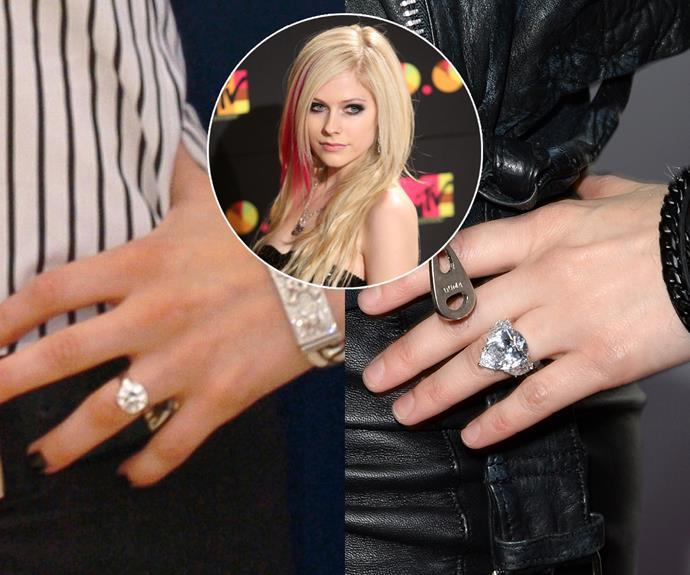 ***Avril Lavigne***<Br><Br> Instead of a wedding band, Chad Kroeger replaced Avril Lavigne's round-cut ring with a massive 20-carat pear-cut diamond flanked by diamond baguettes.