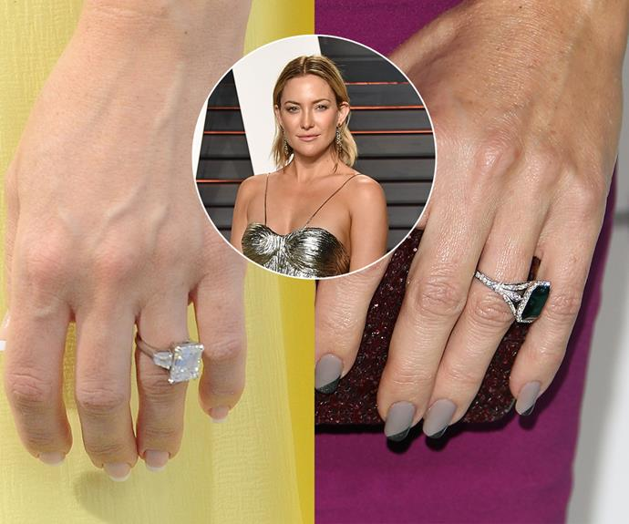 ***Kate Hudson***<br><br> Rumour has it that Kate Hudson's first ring, an emerald-cut diamond on a platinum band, was damaged. She had it replaced with a emerald ring featuring a pavé band.