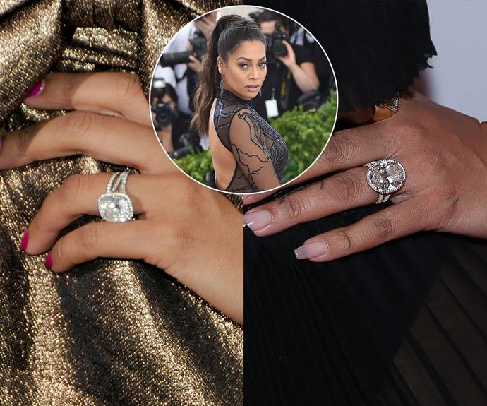 ***La La Anthony***<br><br> Nine years after receiving her initial engagement ring, a 8-carat cushion-cut ring, La La Anthony's husband, NBA player Carmelo Anthony, gifted her with a 20-carat upgrade for her birthday.