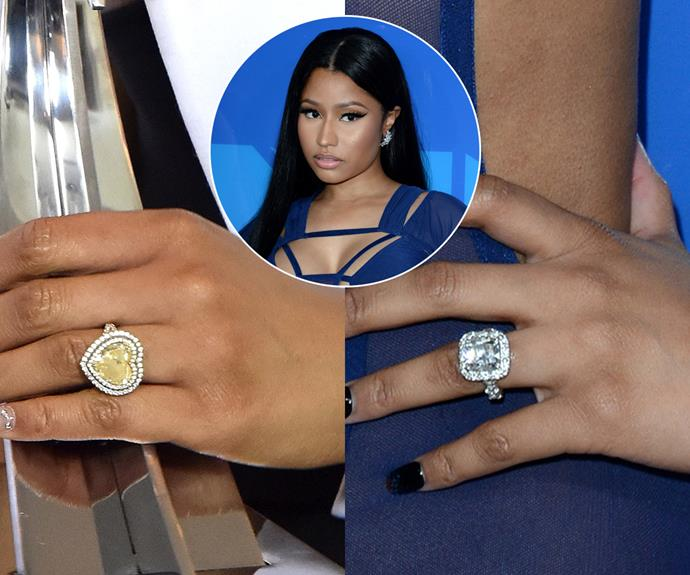 ***Nicki Minaj***<br><br> Rapper and singer Nicki Minaj revealed that she would only agree to marry her boyfriend, rapper Meek Mill, if he gave her three engagement rings. They got to two (a yellow, heart-shaped diamond surrounded by a white-diamond halo, left; and a cushion-cut white diamond on an eternity band, right) before splitting.