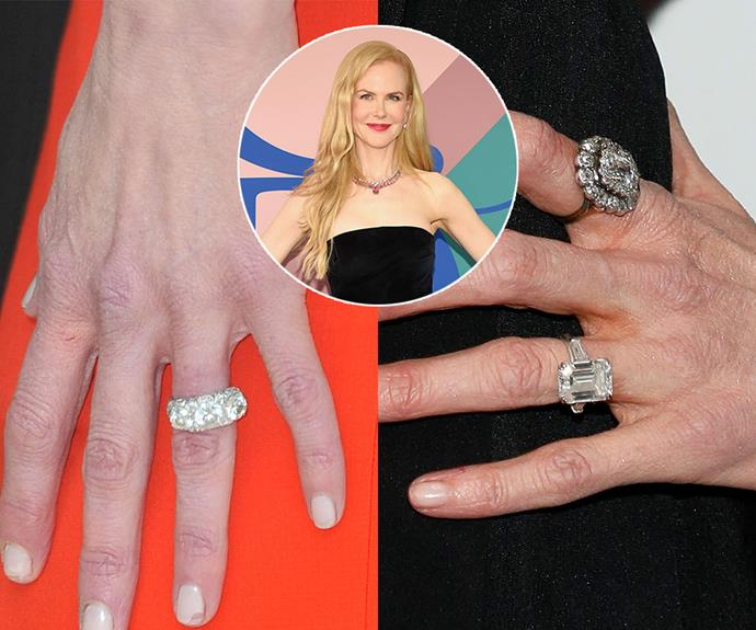 ***Nicole Kidman***<br><Br> After years of wearing her iconic triology ring from husband Keith Urban, Nicole Kidman debuted this simple yet sizeable emerald-cut ring in 2017.