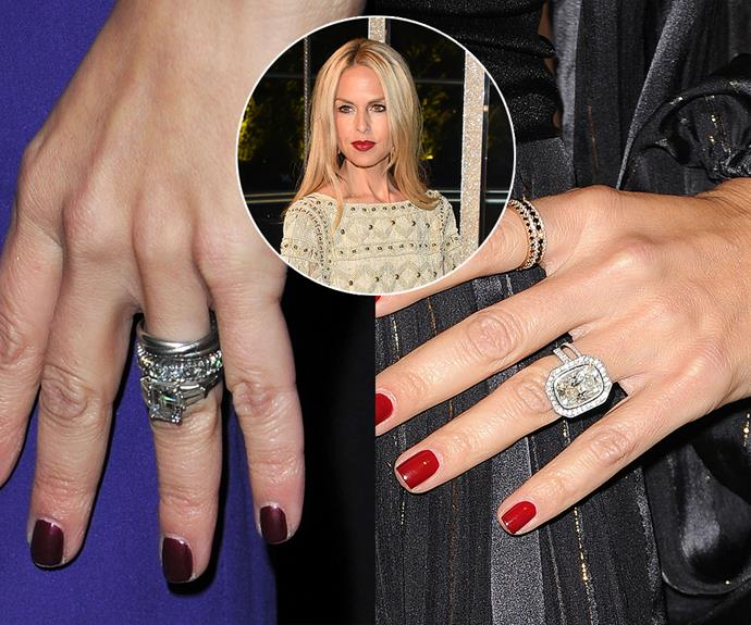 ***Rachel Zoe***<br><Br> Rachel Zoe's husband reportedly upgraded her original emerald-cut ring to a 10-carat cushion-cut diamond surrounded by a halo in 2015.