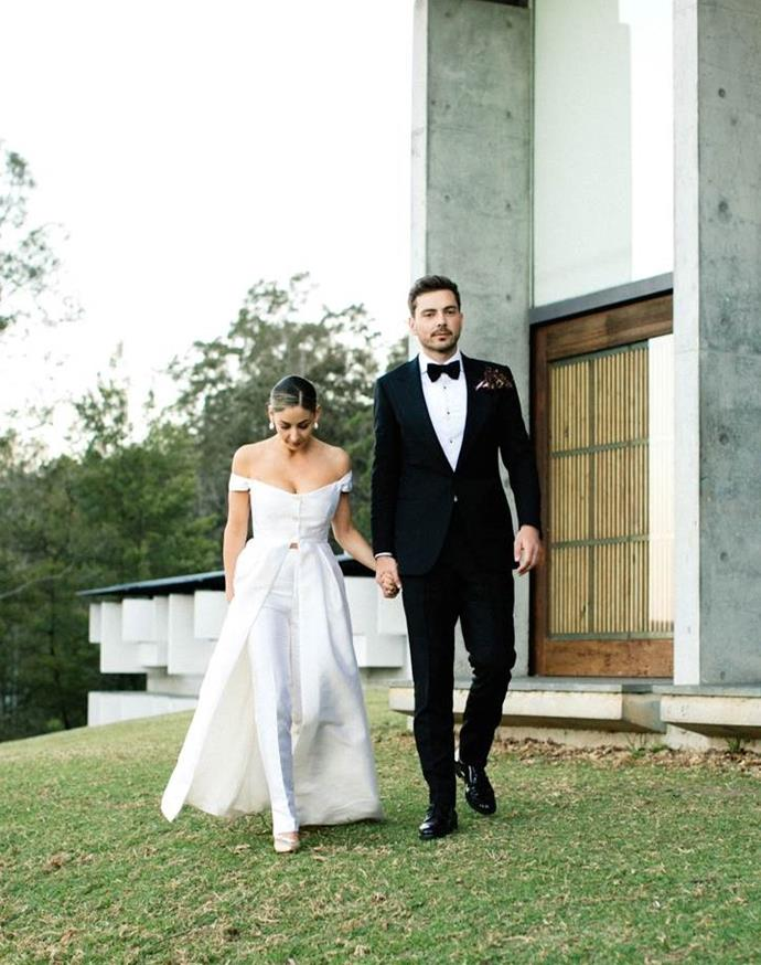 "Anna in Gabriella Hearst. See more [here](https://www.harpersbazaar.com.au/bazaar-bride/berry-nsw-wedding-17843|target=""_blank"")."