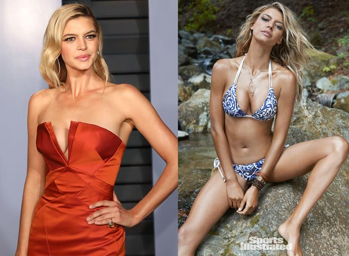 **Kelly Rohrbach** <br><br> Probably best known for her role in the 2017 *Baywatch* movie remake (and for her brief fling with Leonardo DiCaprio), Rohrbach actually made a name for herself in the modelling world first, when she appeared in *SI* in 2015 and claimed the title of 'Rookie of the Year'. She then appeared again in 2016, but hasn't modelled in the issue's pages since, choosing instead to focus on acting.