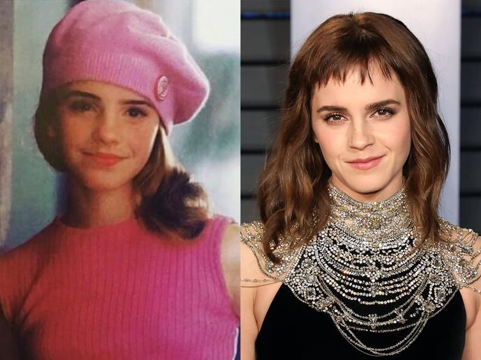 "**Emma Watson (year unknown) and in 2018**<br><br>  *Headshot via [@emmawatson](https://www.instagram.com/p/BiGZ3Rqhoo6/|target=""_blank""