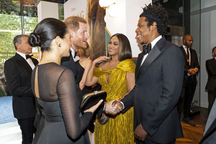 **Beyoncé and Jay-Z meeting Prince Harry and Meghan Markle in 2019**
