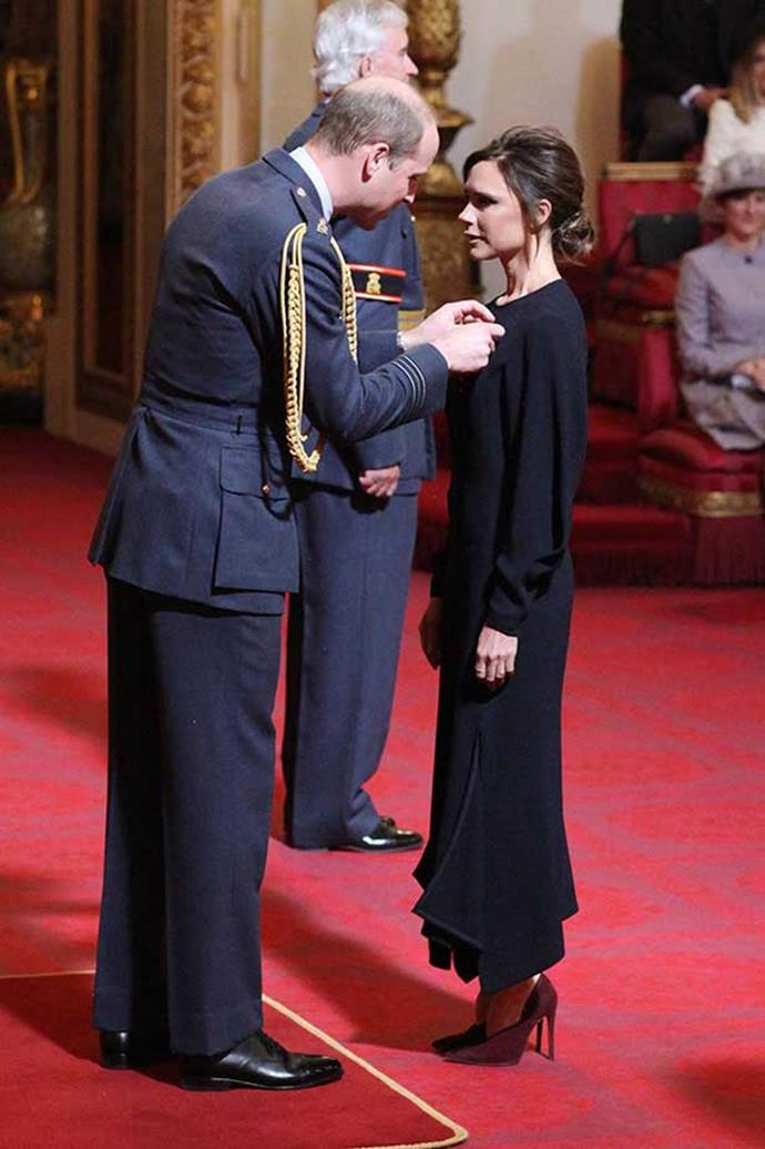 Victoria Beckham meeting Prince William in 2017.