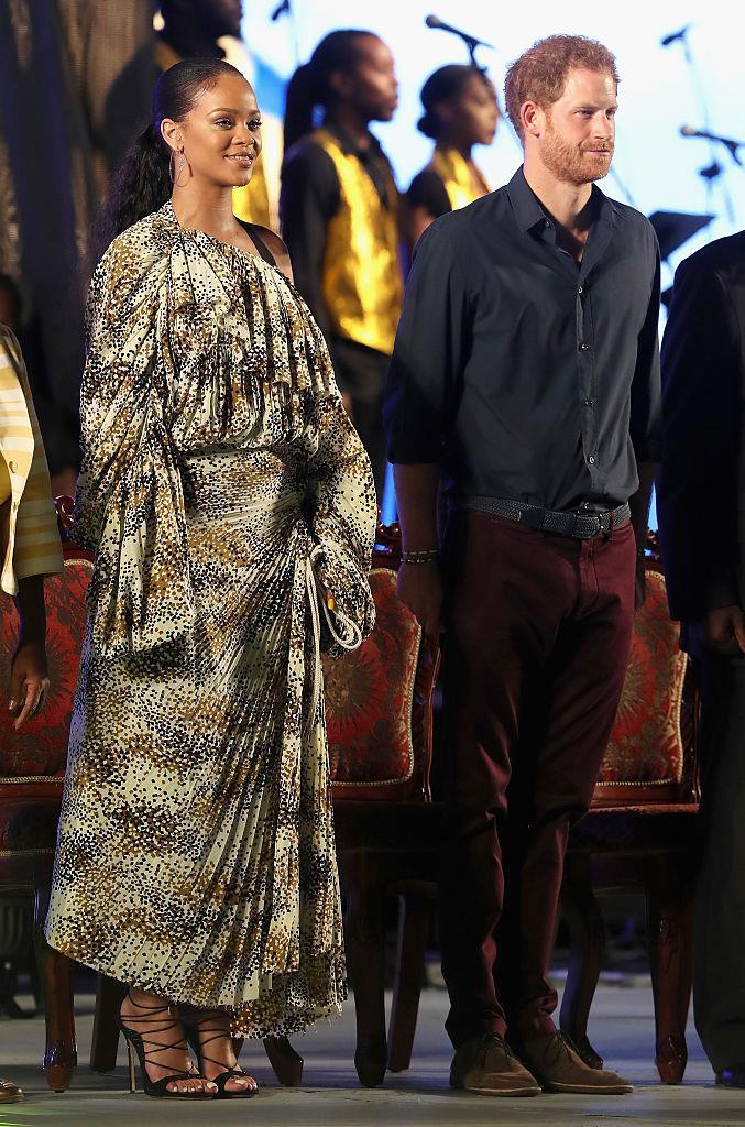 Rihanna meeting Prince Harry in 2016.
