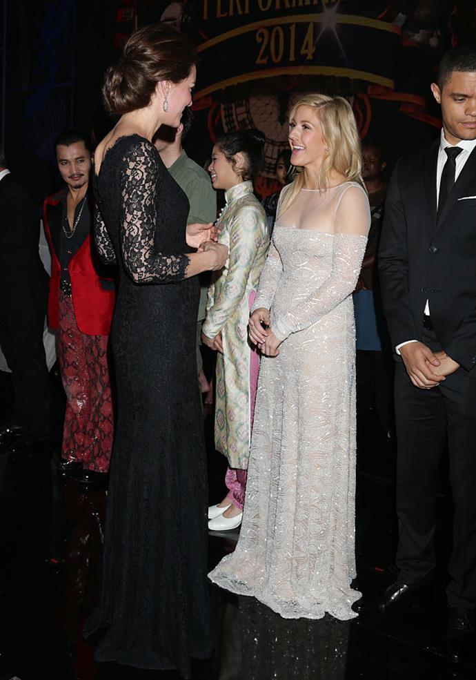 Ellie Goulding meeting Kate Middleton in 2014.