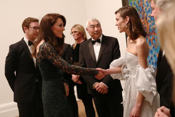 Alexa Chung meeting Kate Middleton in 2017.