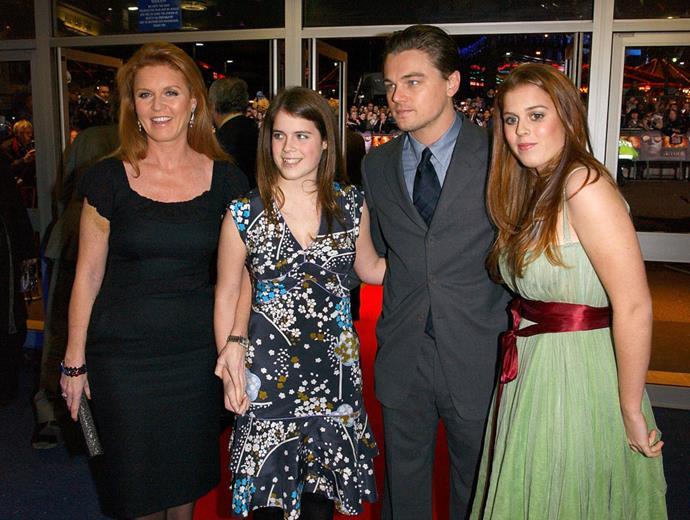 **Leonardo DiCaprio meeting Sarah, Duchess of York, and Princesses Beatrice and Eugenie**