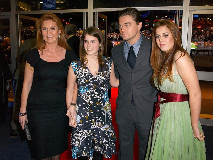 Leonardo DiCaprio meeting Sarah, Duchess of York, and Princesses Beatrice and Eugenie in 2004.