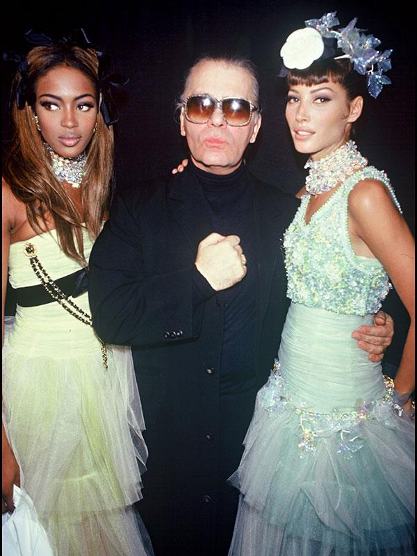 Naomi Campbell, Karl Lagerfeld and Christy Turlington backstage at Chanel spring summer '92